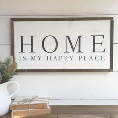 margaret williams and the Silos are a close second but HOME really is my happy place.this is on my list for the next Ready Made so it will be great for over a mantle or above a bed. Fresh Farmhouse, Farmhouse Signs, Farmhouse Decor, Farmhouse Style, Diy Signs, Home Signs, Rustic Signs, Wooden Signs, Inmobiliaria Ideas
