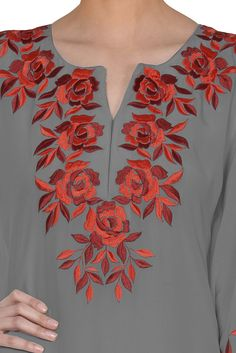 Grey Parsi Floral Embroidered Kaftan Gown Embroidery On Kurtis, Kurti Embroidery Design, Hand Embroidery Dress, Embroidery Neck Designs, Embroidered Clothes, Hand Embroidery Stitches, Embroidery Fashion, Embroidery Patterns, Neckline Designs