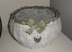 Items similar to Decorative paper basket on Etsy Woven Baskets, Basket Weaving, Recycle Newspaper, Decorative Paper, Paper Basket, Recycled Crafts, Paper Decorations, Recycling, Unique Jewelry