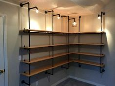Industrial shelves with lights, would be great in a walk-in