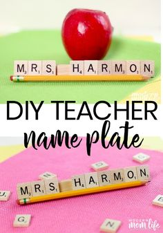 DIY Teacher Name Plate Craft. This is an easy teacher appreciation gift that you. , DIY Teacher Name Plate Craft. This is an easy teacher appreciation gift that you can personalize with scrabble tiles. Teacher Name Plates, Teacher Name Signs, Scrabble Tile Crafts, Personalized Teacher Gifts, Teacher Gift Diy, Diy Gifts For Teachers, Mentor Teacher Gifts, Handmade Teacher Gifts, Teacher Gift Baskets