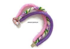 Bracelets  Pink  Bead crochet Bracelet  3 by SERMINCEJEWELRY