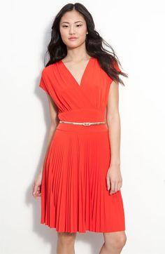 Donna Morgan Belted Surplice Jersey Dress $125.37 Pleats + orange = love