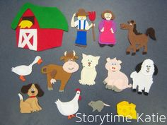 Another flannelboard from the Storytime Katie archives. This was the second or third flannelboard that I ever made, way back in I made a farm pack that I could use pieces for Old MacDonald, F… Flannel Board Stories, Felt Board Stories, Felt Stories, Flannel Boards, Felt Board Templates, Cycle Pictures, Pete The Cats, Cat Plants, Flannel Friday
