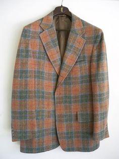 HUSBAND'S CORNER vintage tan blue plaid wool blazer sport coat jacket 42R | eBay