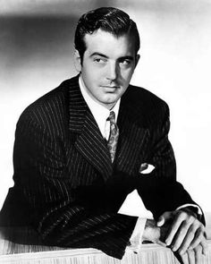 """John Payne - actor known for starring in film noir crime stories, Century Fox musical films, and for his leading role in the Christmas classic, """"Miracle on Street"""". He died on Dec 1989 from congestive heart failure at the age of Hollywood Men, Hollywood Icons, Golden Age Of Hollywood, Vintage Hollywood, Hollywood Stars, Classic Hollywood, Hollywood Glamour, Old Movie Stars, Classic Movie Stars"""