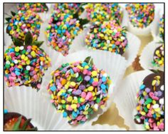 Chocolate and sprinkled covered strawberries... Yum!  This awesome treat was brought in for Charlotte J.'s b'day.