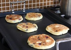 These blueberry pancakes are made light and delicious with beaten egg whites and blueberries. Use fresh or frozen blueberries in this pancake recipe.