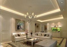 living room ceiling design ideas suspended ceiling hidden lighting crystal…