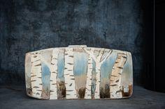 Birch Tree Vase. Porcelain Inlay on a Stoneware Base www.maggiezerafa.com