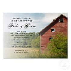 Rustic Red Barn Country Wedding Invitation