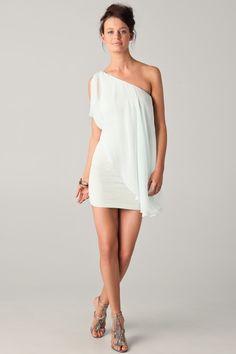 White One Shoulder Drape Chiffon Dress - bridal shower dress? Or bachelorette party dress??