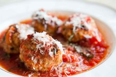 Italian Sausage Meatballs! with ricotta in a lovely tomato sauce with Parmesan and basil.
