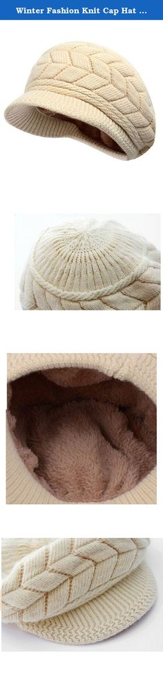 Winter Fashion Knit Cap Hat for Women, Peaked Visor, Warm Fleece Lined. This soft chenille fleece-lined winter knit cap hat is perfectly designed for the chilly cold weather winter season. Extra Deep for a jaunty slouchy look or to make a little extra room for your hair, whether loose, in a bun or a pony tail, and may be deep enough to cover your ears, so you can replace your earmuffs, or choose to wear them together for extra warmth. The visor brim protects your face from falling snow…