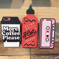 Buy New Coffee Cups Phone Case for iPhone 6 7 8 8 Plus X Cute Pink Audiotape Red ketchup Bottle Soft Silicone Back Cover at Wish - Shopping Made Fun Girly Phone Cases, Diy Phone Case, Iphone Phone Cases, Cell Phone Covers, Funda Iphone 6s, Coque Iphone, Apple Iphone 6, Capa Apple, Outfits