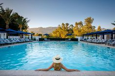 Scenic views with glowing valley sunsets at the Indigo Pool at Ojai Valley Inn & Spa. #ojairesort