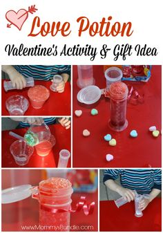 Valentine's Love Potion Activity & Gift Idea for Toddlers & Preschoolers - A fun science activity for kids to practice fine-motor skills. Science Valentines, Valentine Crafts For Kids, Valentines Day Activities, Valentines Day Party, Valentine Day Love, Valentine Theme, Holiday Activities, Valentine Ideas, Potions For Kids