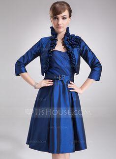 A-Line/Princess Sweetheart Knee-Length Taffeta Mother of the Bride Dress With Ruffle (008006420) - JJsHouse