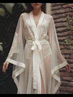 BOUDOIR dress - wedding day lace GOWN - bridal ROBE - morning lingerie - maternity - long beach tulle simple - sexy peignoir for photo shoot Pretty Lingerie, Sheer Lingerie, Luxury Lingerie, Vintage Lingerie, Beautiful Lingerie, Lingerie Set, Lingerie Dress, Mens Lingerie, Elegant Lingerie