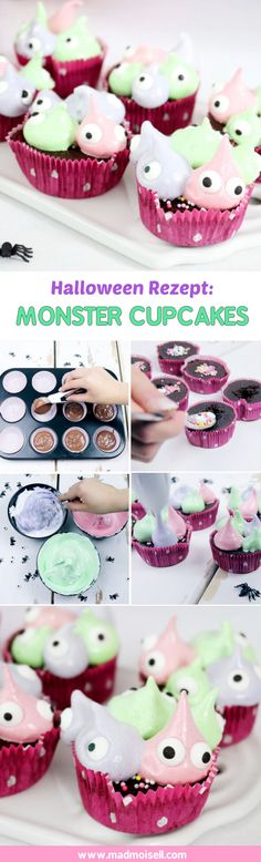 Bake Monster Cupcakes: Simple muffin recipe for Halloween. The cupcakes are made even faster than the cake and look toooooo sweet, do you think so? I love the idea with the marshmallow frosting Monster Cupcakes, Fondant Cupcakes, Fun Cupcakes, Easy Buttercream Frosting, Marshmallow Frosting, Easy Homemade Desserts, Cupcake Recipes From Scratch, Mother's Day Cookies, Simple Muffin Recipe