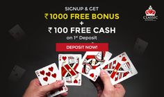 Looking to start your Rummy Game with a Welcome Bonus Get up to Rs as a Welcome Bonus with your first deposit at Classic Rummy. Rummy Online, Free Cash, 100 Free, Free Games, The 100, Indian