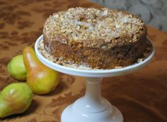 Spiced Pear Cake with Almond-Ginger Streusel -  This is a moist gluten free cake to serve at any occasion. Made with Pamela's Baking & Pancake Mix, fresh grated pear flavored with pure honey, ground cinnamon & ginger. 2012 Recipe Contest Runner-Up by Barbara E.
