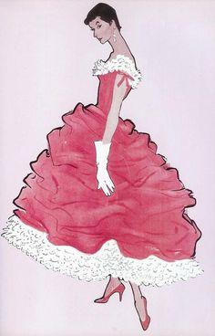 Balenciaga dress by René Gruau, 1955
