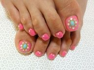 #Cute #Pretty #Classy #Toenails #Nails #Nail #Design #Hot #Pink with #Studs!