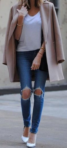 Nude Coat + White Tee + Denim                                                                             Source