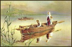 Every now and again, you come across an interpretation you've never seen before, such as this antique prayer card that shows the Holy Family out fishing on the Galilee. Charming, isn't it?