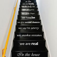 Wall Decal Quote In this house we are real. STAIR CASE Stairway Decals Vinyl Sticker Wall Decor Home Interior Art Decor Staircase by CozyDecal on Etsy