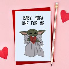 Funny Valentines Day Card - Love Card - Relationship Card - Card for Him, baby yoda, star wars Friend Valentine Card, Valentines Day For Him, Valentine Day Crafts, Valentines Puns, Funny Valentines Cards For Friends, Valentines Day Cards Tumblr, Homemade Valentines Day Cards, Valentines Day Funny Images, Cute Valentine Sayings