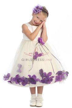 Ivory/Eggplant Sleeveless Satin Flower Petal Flower Girl Dress KD-160B-EG2 on www.GirlsDressLine.Com