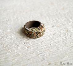 Brown yellow modern ring. Kseniya