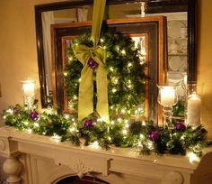 Cheminée Noël déco violet blanc et vert