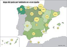 Investigación. Gasto en I+D per cápita, por regiones, España, 2013
