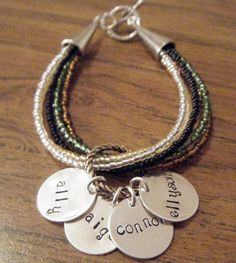 Hand Stamped Jewelry Personalized multi strand seed bead bracelet. via Etsy.