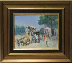 José Luis Gordillo : The Rocio pilgrimage. Medium: Oil on wood Measurements (cm): 38X33 Canvas measurements (cm): 24X19 Interior frame: Yes. Pretty scene of the El Rocio pilgrimage by José Luis Gordillo, an rising Sevillian painter whose impressionist painting of traditional themes emphasises the light of his pastel colours.A work of good artistic quality, we can also appreciate the dust rising from the pilgrims on the way.  $136.17