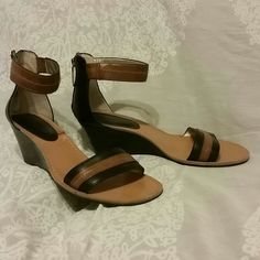 Gorgeous Hilfiger Demi Wedge Sandals Shoes EUC 10 Worn just 2-3 times- in excellent condition!  Hilfiger black and camel sandals with rear zip and demi wedge. Size 10, tts. Tommy Hilfiger Shoes