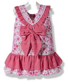 Vestido de piqué flores de abril rosa para niña Cute Little Girl Dresses, Dresses Kids Girl, Kids Outfits Girls, Toddler Outfits, Pretty Dresses, Girl Outfits, Baby Dress Design, Baby Girl Dress Patterns, Cotton Frocks For Girls