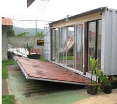 Exterior- create a deck or porch that can be lowered like a draw bridge