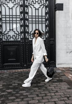 all white suit street style inspo fashion blogger celine Loxley bucket bag sneakers modern legacy minimal Instagram (18 of 18)