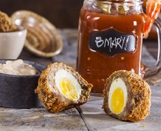 Boudin-Crusted Scotch Eggs with Spicy Rémoulade Dipping Sauce PLUS Garnished Bloody Mary