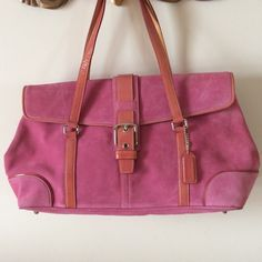 Coach pink suede handbag. NWOT Gorgeous pink suede handbag with pink leather trim.   Never used.   Several open and zipped pockets inside.  2/10/25 Coach Bags Shoulder Bags