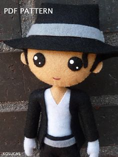 PDF tutorial to make a felt doll inspired in Michael Jackson.