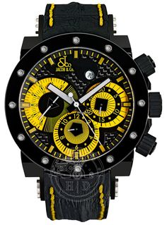 Jacob & Co. Men's Epic II Yellow Automatic Chronograph Watch $6,720  steel case with rubber bracelet & automatic movement