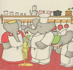 Babar the Elephant in the Kitchen, antique print