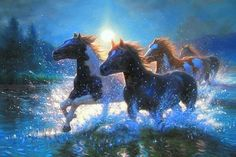 """Night Mares"""" Mark Keathley - JQ Licensing This exciting new line of gallery wrapped canvas art features beautiful licensed art by renowned artists. Horse Water, Westerns, Mare Horse, Painted Horses, Horse Wallpaper, Running Horses, Horse Gifts, Equine Art, Horse Art"""