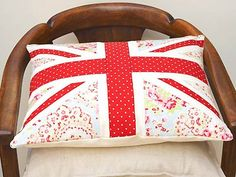 Sew a faded floral Union Jack cushion    Go for shabby chic with this contemporary take on the iconic flag, sewn with pretty floral and polka-dot print fabrics    Click here for full instructions