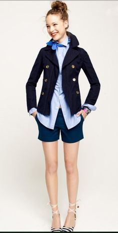 love the preppy style, shades of blue, and shoes